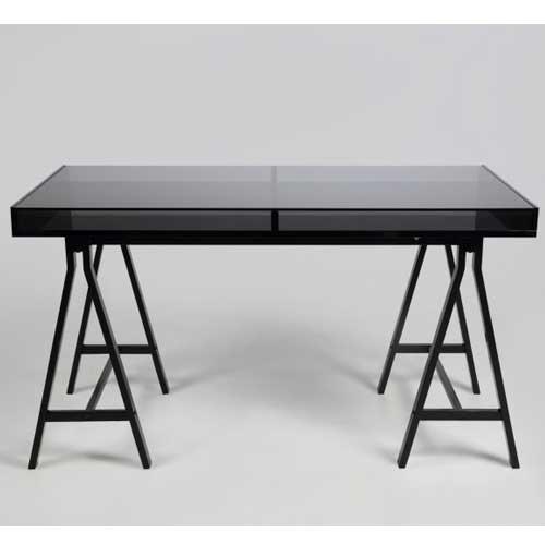 229 schreibtisch calais tischplatte glas gestell metall schwarz 140x70cm schreibtisch. Black Bedroom Furniture Sets. Home Design Ideas